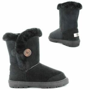 Ella Ladies Boot Nina Black Lined Vegan Fur Button Hard Sole Winter Calf Boots