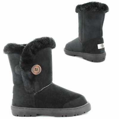 Ella Mandy Black Ladies Vegan Boots Slip On High Calf Fax Fur Boot