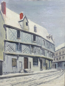 Georges-Kamke-1889-Lane-under-the-Snow-in-Chartres-Oil-on-Cardboard-Strong-1920