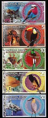 ALDABRA ISLAND 5 x 5 PCS SET 3 5 10 25 50 DOLLARS 2017 UNC TROPICAL BIRDS 25 Pcs