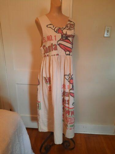 Vintage Handmade Feedsack Feed Sack Dress Santa Cl