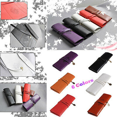 Best Vintage Retro Roll Leather Make Up Cosmetic Pen Pencil Case Pouch Purse Bag