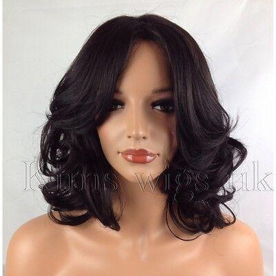 FULL SHORT WOMENS LADIES FASHION HAIR WIG CURLY BLACK/DARK BROWN SHOULDER LENGTH