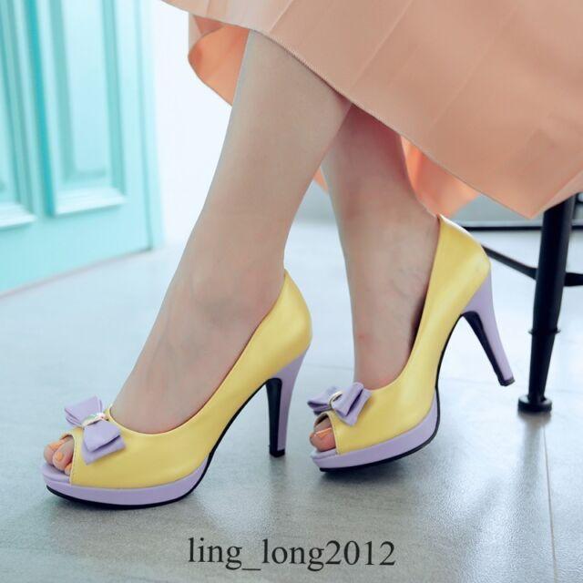 Plus SZ Womens High Heels Open Toe Pumps Bowknot Wedding Party Shoes OL Sandals
