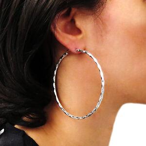 Large 925 Sterling Silver Hammered Hoops Earrings 7cm ki3K4Xnd1D