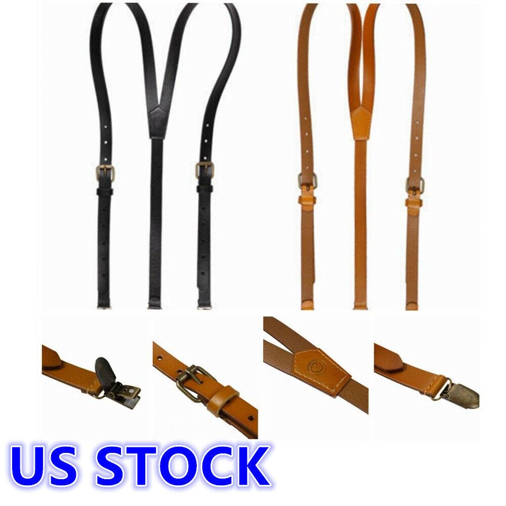 US Unisex Leather Suspenders Y-Shape Braces Adjustable Metal Clips Retro Braces