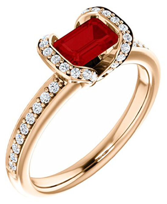 0.87ct ROUND ROUND DIAMOND 14K SOLID YELLOW gold RUBY WEDDING CLUSTER RING