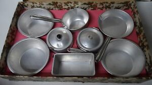 Vintage Child's Pots & Pans Set in Original Holly Decorated Christmas Box