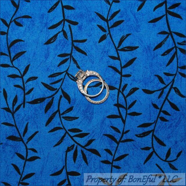 BonEful Fabric FQ Cotton Quilt Blue Black Leaf Stripe Safari Jungle African Girl