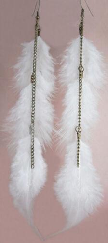F1270 fashion blanc longue plume chaîne mignon Dangle Boucles d/'oreilles Bijoux