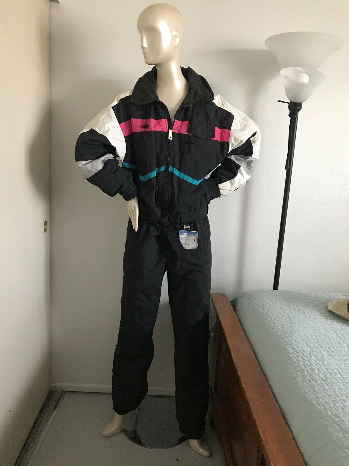 Vtg 80s Multicolord SUBELLO One piece SKI  SUIT Neon W   Hoodie Medium  factory direct and quick delivery