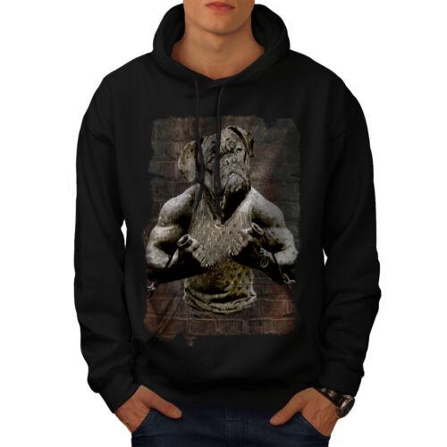 Wellcoda Bulldog Gym Workout Mens Hoodie, Weird Casual Hooded Sweatshirt