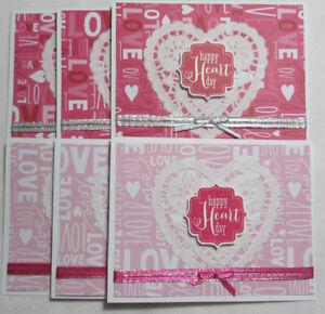 Belle Stampin Up! Happy Cœur Journée Saint Valentin Fait à La Main Carte Ensemble De 6