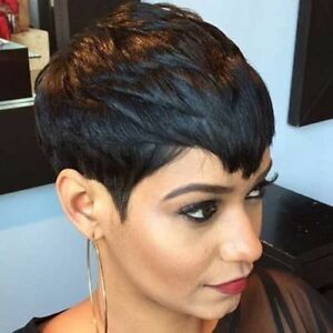 Short Remy Human Hair Wigs Pixie Cut Black No Lace Full Hair Wig For