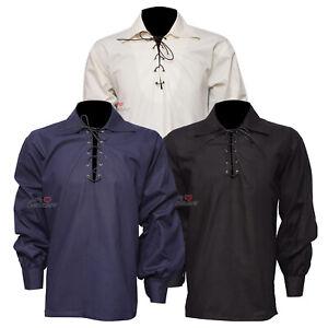 New-Scottish-Highland-Men-039-s-Jacobite-Jacobean-100-Cotton-Ghillie-Kilt-Shirts