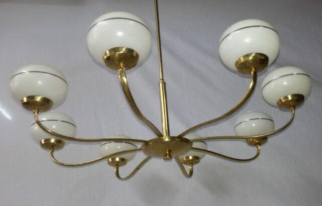 Lampadario chandelier in ottone luci design stilnovo mid