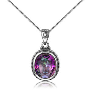 925-Silver-Oval-Rainbow-Mystic-Topaz-Pendant-Necklace-Jewelry-Wholesale-Lot