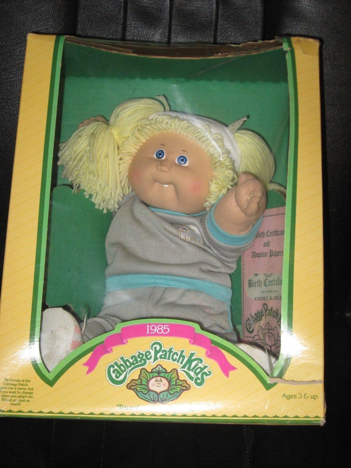 Coleco 1985 Cabbage Patch Muñeca-Cabello Rubio ojos azules nombre Kelsey Karlene