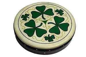 Irish-Bodhran-mit-SHAMROCK-Logo-18-x-3-5-Zoll-Stimmbar-B-WARE