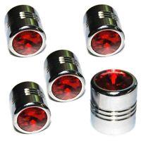 5 Chrome Red Gem Tire Air Valve Stem Caps - Car Truck Hotrod Atv W/ Spare Wheel