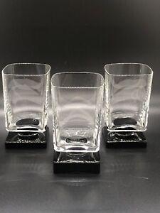 Set-3-DiSaronno-6-oz-Liqueur-Glasses-Clear-w-Black-Amethyst-Square-Pedestal-Base