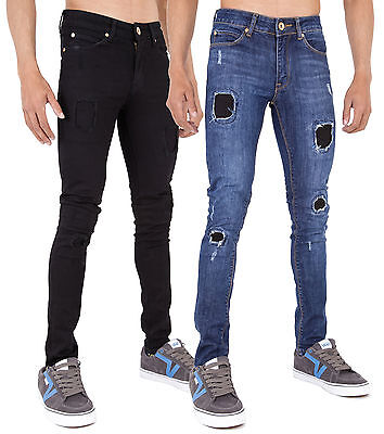 MENS RIP & REPAIR SUPER SKINNY STRETCH PUNK RETRO DENIM JEANS by AD 28 - 40