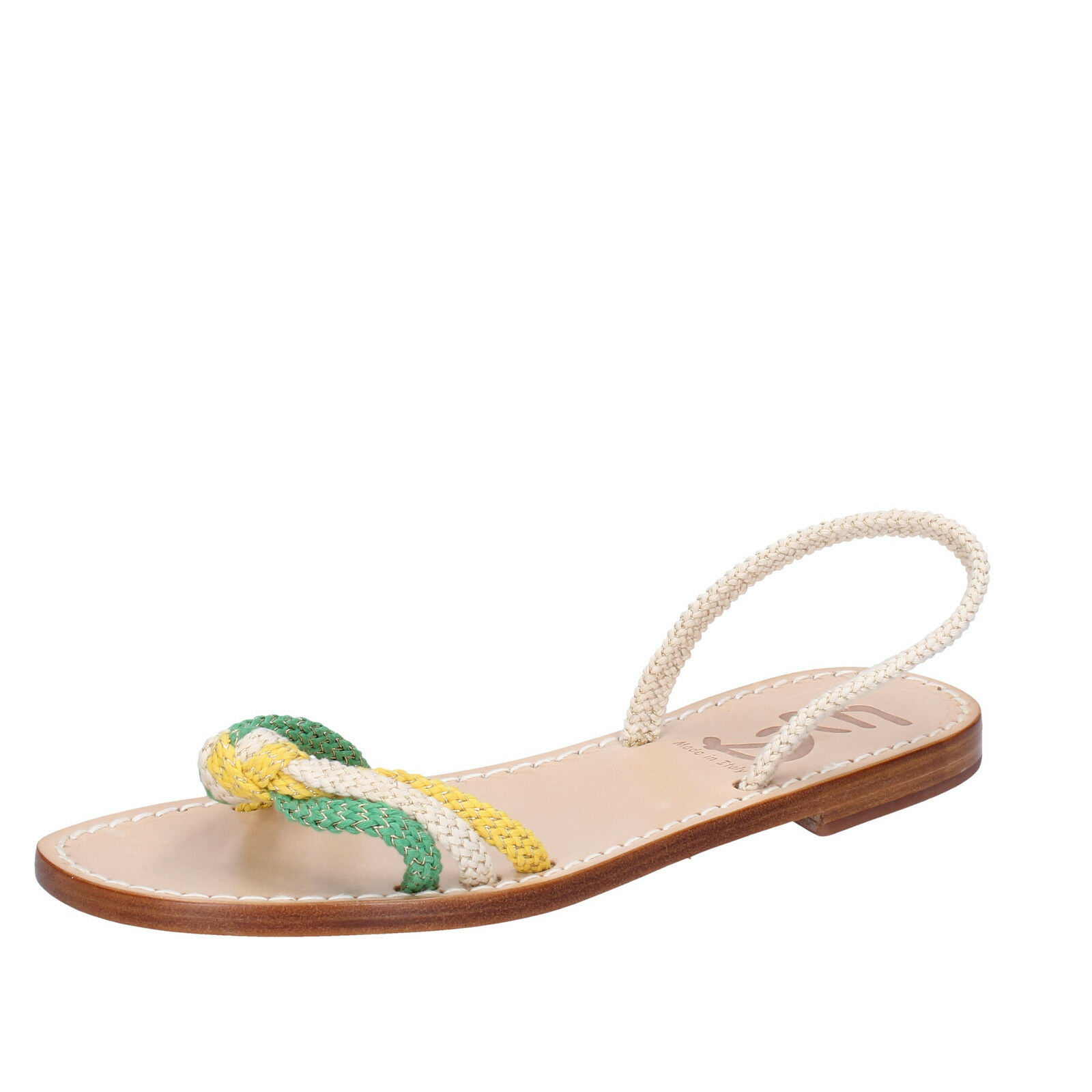 Womens shoes Eddy Daniele 37 EU Sandals White Yellow Green Rope aw470
