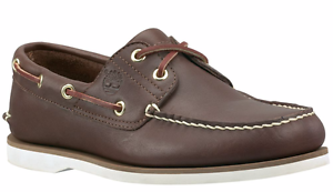 Timberland-2-pour-Homme-Oeil-Classique-Handsewn-cuir-Chaussures-Bateau-Marron-Fonce-Style-74035