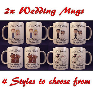 Image Is Loading Personalised Mr And Mrs Wedding Mugs Anniversary Cup