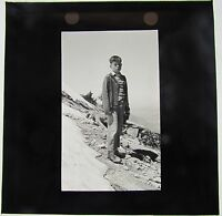 Magic lantern Slide Young Boy in the mountains c1910