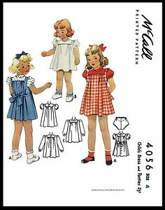 Vintage 1940's DRESS FROCK & PANTIES GIRL Pattern McCall # 4056 TODDLER Size-4-