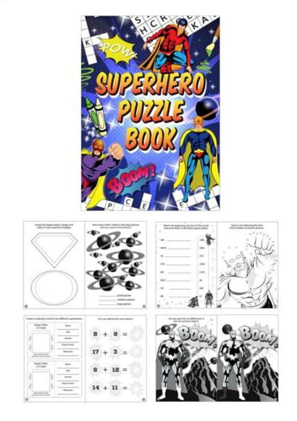 10 SUPERHERO FUN PUZZLE BOOK Activity Party Bag Filler MAZE CROSSWORD dot-to-dot