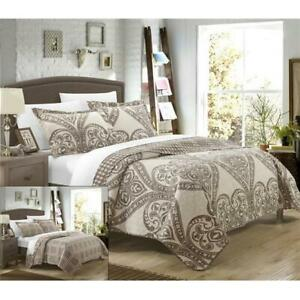 Chic-Home-QS3410-US-Pastola-Reversible-Printed-Quilt-Quilt-Set-Beige-King