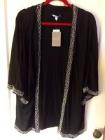 Leifnotes Anthropologie Black Open Front Blouse Cape Poncho Top Beads L