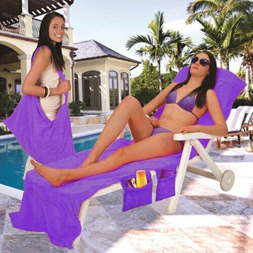Sun Lounger Mat Beach Towel Carry With Pocket Bag Holiday Travel Lounge CarpetUK