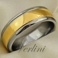 8mm Dome Gold Tungsten Ring Infinity Men's Wedding Band Bridal Jewelry Size 6-13