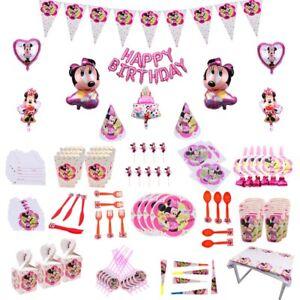 Minnie-Mouse-Fete-D-039-anniversaire-Fournitures-sac-Disney-Vaisselle-Assiettes-Tasses-Serviettes-UK