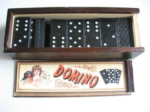 RETRO DOMINO BOX 28PC DOMINOES HANDY WOOD STORAGE BOX & SLIDE LID