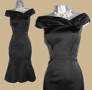 Karen-Millen-Negro-Satinado-del-hombro-vestido-estilo-sirena-Coctel-Fiesta-Vestido-10