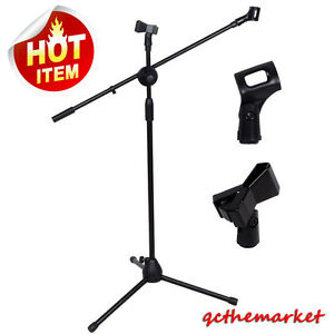 360-degree-Rotating-Microphone-Stand-Dual-Mic-Clip-Boom-Arm-Foldable-Tripod