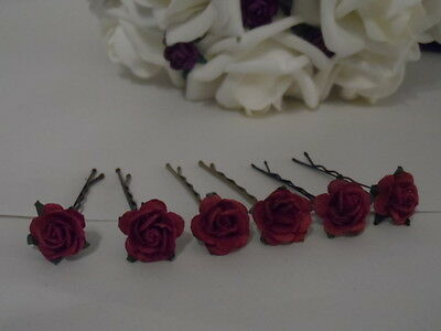 6 ROSE GRIPS 30 colours prom dress hair accessories wedding kirby flower