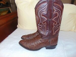 8dd5e3ab273 Los Altos j-toe line 600307 Western Cowboy Riding Brown Ostrich Boot ...