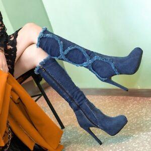 pour mode à franges en hautes femmes la à Bottes denim Z1HUw8