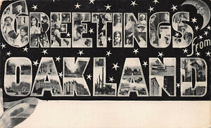 Large-Letter-Greetings-From-Oakland-California-Early-Postcard-Unused