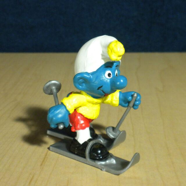 Smurfs 40205 Skier Smurf Rare Vintage Super Figure Toy PVC Skiing Figurine 1980s