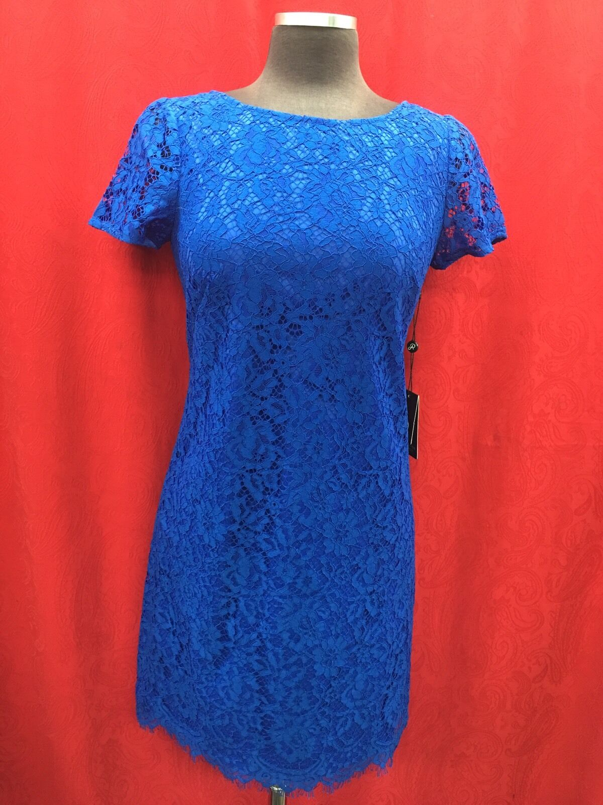 ADRIANNA PAPELL DRESS NEW WITH TAG RETAIL LINED LENGTH 37  SIZE 4 ROYAL