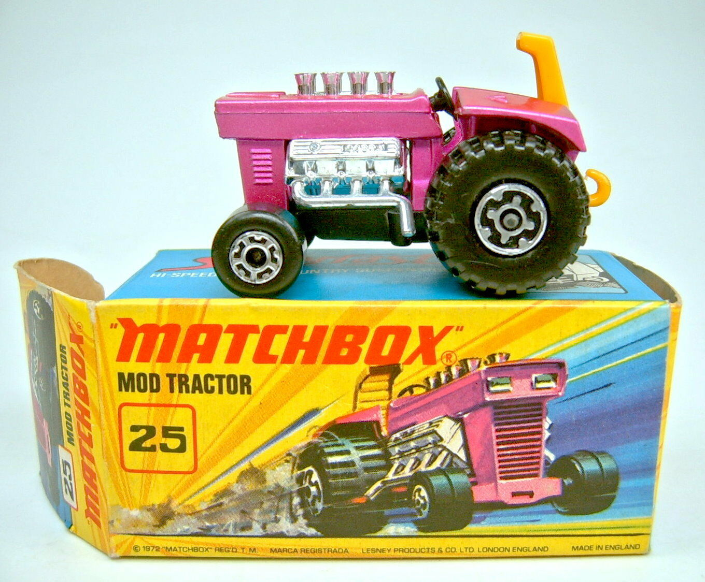 MATCHBOX superfast Nº 25b MOD tractor largeur largeur largeur 5 Crown frontwheels dans Box f43b48