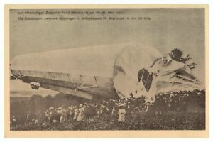Antique-WW1-military-German-printed-postcard-crashed-Zeppelin-airship-blimp