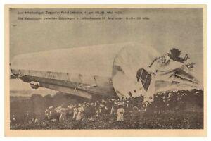 Antique-WW1-military-German-printed-postcard-crashed-Zeppelin-airship-blimp