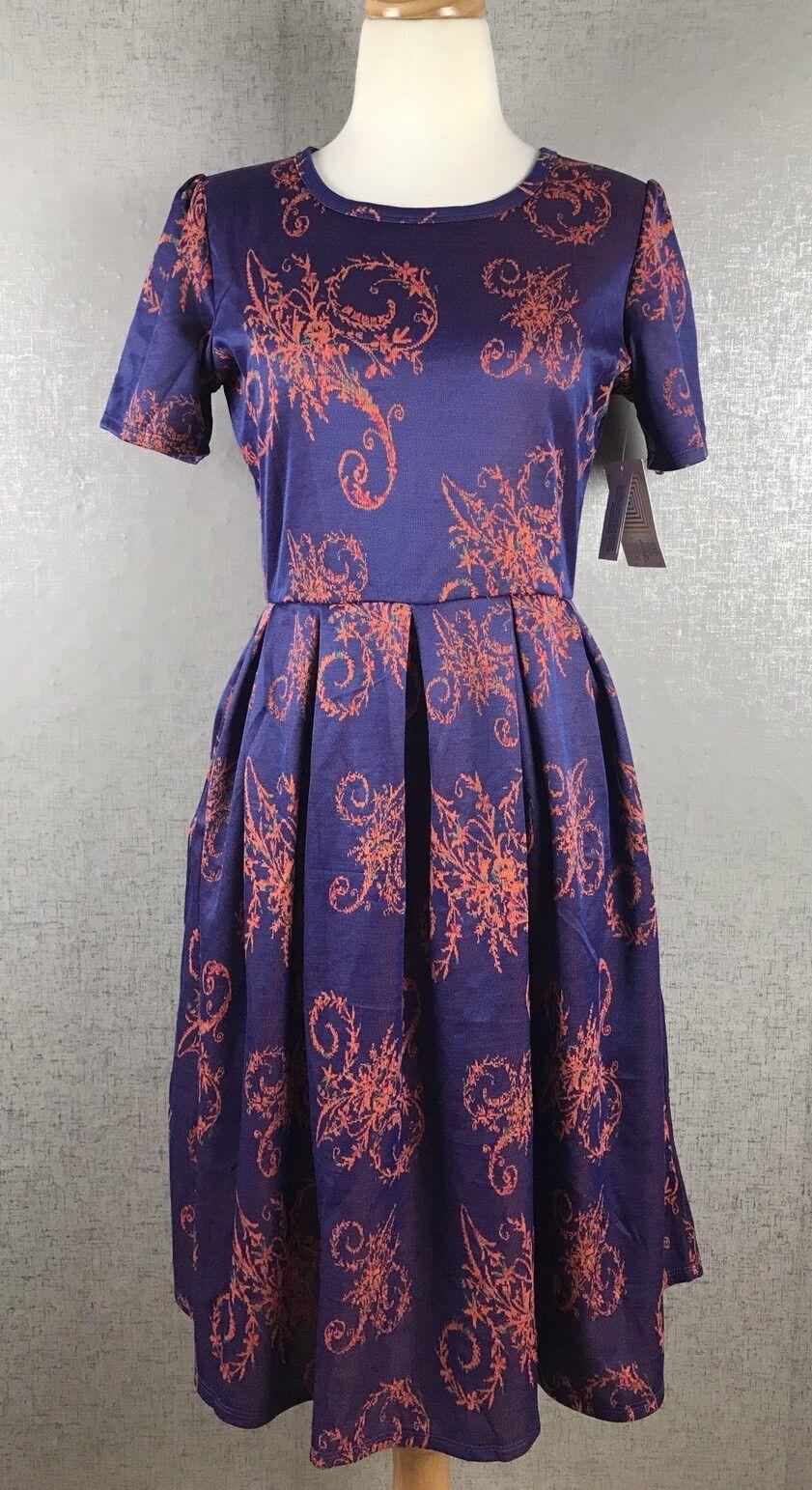 Lularoe Amelia Dress NWT SZ L Large Purple orange Unicorn Rare Beautiful